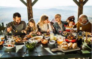famille, table, nourriture