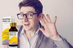 Emballage d'huile Biostenix Sensi et un garçon avec des lunettes