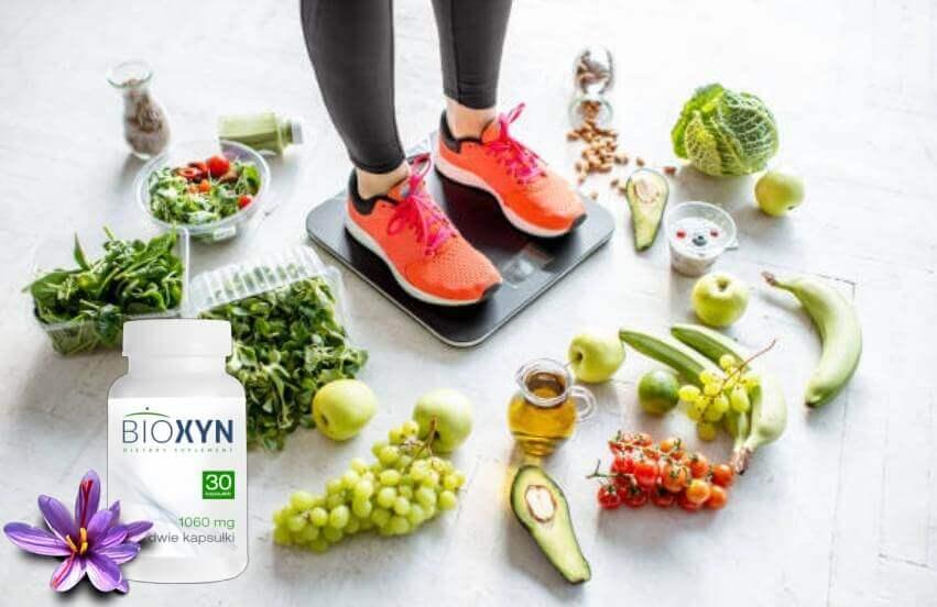 Bioxyn, une femme sur la balance, fruits et légumes