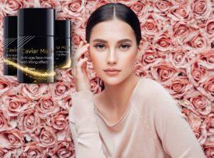 femme, roses, masque de caviar