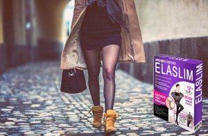 ElaSlim, une femme sur une promenade en collants et jupe