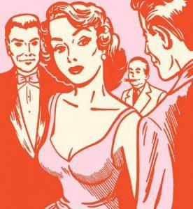 une fille courtisée par des hommes