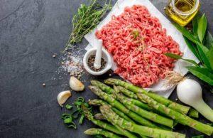viande hachée, asperges