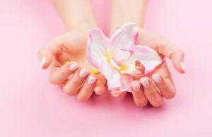 mains féminines, fleur