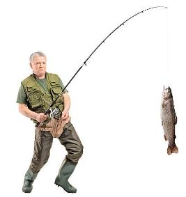 activateur de morsure Fish XXL, un homme a attrapé un poisson sur une canne à pêche