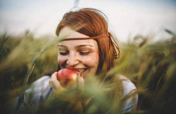 pomme, femme, champ