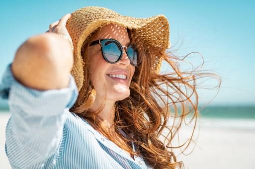 cheveux, plage, mer, soleil, femme