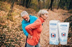 Gel Levasan Maxx, une femme souffrant de lombalgie et un homme dans les bois