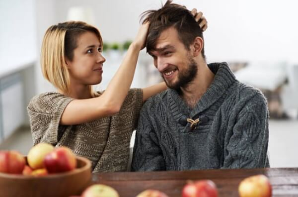 homme, femme, cheveux, pommes