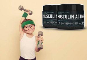 Musculin Active, un enfant avec des haltères