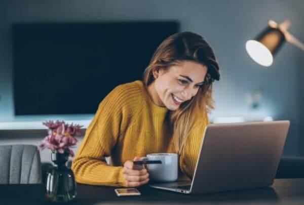 commande en ligne, shopping, femme