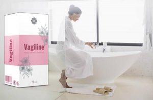 Vagiline, une femme dans la salle de bain