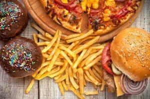 restauration rapide, burger, frites, beignets, pizza